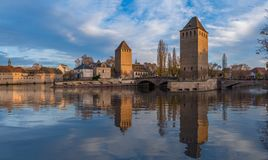 Ponts Couverts from the Barrage Vauban in Strasbourg France. Medieval bridge Ponts Couverts from the Barrage Vauban in Strasbourg France Royalty Free Stock Photography