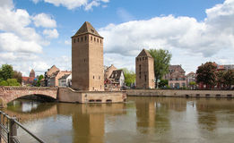 Medieval bridge Ponts Couverts in Strasbourg, Alsace, France Royalty Free Stock Images