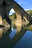 Medieval bridge, river Arga, Puente de la Reina Stock Photography