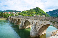 Medieval bridge on a river Royalty Free Stock Photography