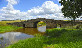 The medieval bridge of Santiago de Bencaliz, province of Caceres, Spain Royalty Free Stock Image