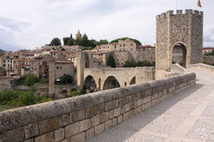 Medieval bridge. The medieval bridge of the town of Besalu in Catalonia, Spain Stock Photography