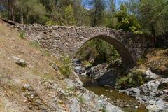 Medieval Bridge in Tris Elies in Troodos, Cyprus Stock Photo