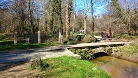 Medieval bridge in Tui Way of Santiago stock photo