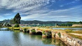 Medieval bridge in Viana do Castelo stock photography