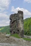 Medieval broken tower. Archaeological site on the Olt valley in Carpathian Mountains Stock Photography