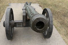 Medieval bronze cannon front view Royalty Free Stock Images