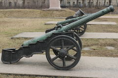 Medieval bronze cannon Stock Photos