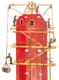 Medieval builders making a tower - hand drawn color illustration, part of medieval series set Royalty Free Stock Photos
