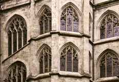 Medieval building. Gothic windows of the Town Hall of Munich royalty free stock photography