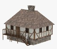 Medieval building with character walking into it Royalty Free Stock Image