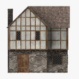 Medieval building - common house side view vector illustration