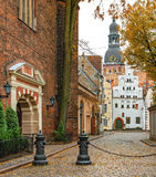Medieval building in old Riga city, Latvia Royalty Free Stock Photography