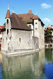 Medieval building in the town of Annecy in France. Medieval building with a tiled roof in the town of Annecy in France Stock Photography