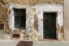 Medieval building wall in Pals, Spain Stock Image