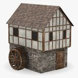 Medieval building - water mill Stock Photo