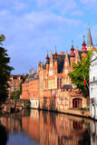 Medieval buildings along a canal in Bruges, Belgium Royalty Free Stock Photography