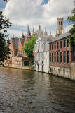 Medieval buildings along the canals. Bruges. Belgium Stock Image