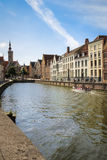 Medieval buildings along the canals. Bruges. Belgium Royalty Free Stock Image