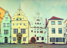 Medieval buildings in center of old Riga city, Latvia Royalty Free Stock Image