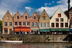 Medieval buildings in Dijver canal. Bruges. Belgium Stock Images