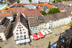 Medieval buildings in Freiburg im Breisgau at the historic marke Stock Photography