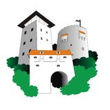 Medieval Buildings. Inspired by Graft Bastion, White Tower and Black Tower of Brasov city, Romania Royalty Free Stock Image