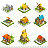 Medieval Buildings Isometric Collection Stock Images