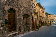 Medieval Buildings in the Italian hill town of Assisi, Umbria, Italy Stock Images