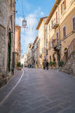 Medieval Buildings in the Italian hill town of Assisi, Umbria, Italy Stock Image