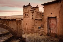 Kasbah Ait Ben Haddou at sunset. Morocco. stock photos