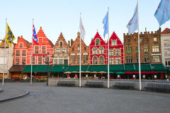 Medieval buildings on the Market Square, Bruges Stock Photo