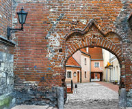 Medieval buildings in the old city of Riga, Latvia. Royalty Free Stock Image