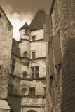 Medieval Buildings in Sarlat France. Sepia photograph of medieval French buildings in the Aquitaine region of Southern France Royalty Free Stock Photos