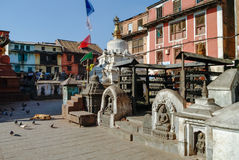 Medieval buildings and structures surrounding Swayambhunath stup Royalty Free Stock Photography