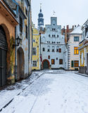 "Medieval buildings ""Three brothers"" in old Riga city, Latvia Royalty Free Stock Photos"