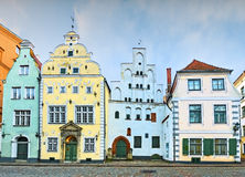 "Medieval buildings ""Three brothers"" in old Riga city, Latvia Stock Photography"