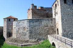 Medieval Bulgarian Fortress. The wall, the towers and the moat of the medieval fortress Baba Vida in Vidin, northwestern Bulgaria. The fortress is one of the Stock Photo