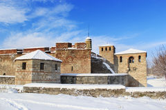 Medieval Bulgarian fortress in winter Stock Images