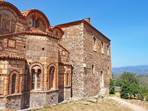 Medieval byzantine church at the ancient site of Mystras, Greece. A medieval byzantine church located at the ancient hillside site of Mystras in Greece Stock Images