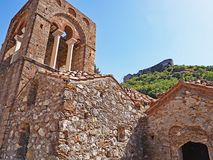 Medieval byzantine church at the ancient site of Mystras, Greece. Medieval byzantine church located at the ancient hillside site of Mystras in Greece Stock Photo