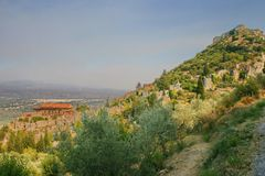 Medieval byzantine fortress of Mystras (UNESCO World heritage) Royalty Free Stock Photography