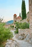 Medieval byzantine fortress of Mystras (UNESCO World heritage) Royalty Free Stock Photo