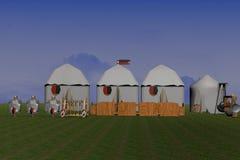 Medieval Camp. 3d-rendering of an medieval camp vector illustration