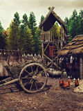 Medieval camp in the forest Royalty Free Stock Images