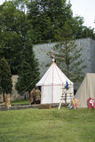 Medieval Camp and knights Stock Photography