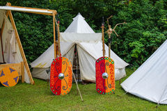 Medieval campground for tournament participants Royalty Free Stock Photo