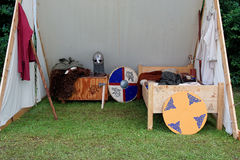 Medieval campground for tournament participants Royalty Free Stock Images