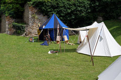 Medieval campground for tournament participants Stock Image