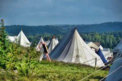 Medieval camping tents Stock Photography